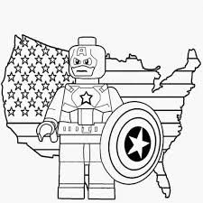 Free Prints Kids Coloring Lego Marvel Super Heroes Minifigure Captain America Shield US Map Outline