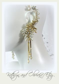Pearl Bridal Ear Cuff Hand Painted Winter by KathrynandOlivia, $135.00