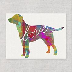 Lab / Labrador (Chocolate, Yellow, Black) Love - A Modern & Whimsical Dog Breed Watercolor-Style Wall Art Print / Poster on Fine Art Paper. Unframed & Can be Personalized