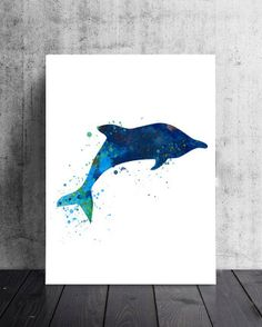 Watercolor Dolphin Art Print Dolphin by LilyAndTheLark on Etsy