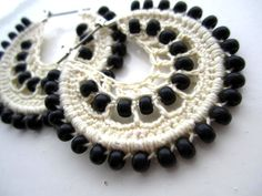 Crocheted hoops and black beads by BohemianHooksJewelry on Etsy, $15.00