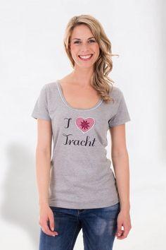 T-Shirt I LOVE TRACHT (grau)