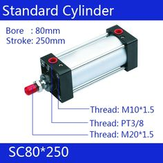 98.46$  Watch here - http://aliofo.worldwells.pw/go.php?t=32367287027 - SC80*250 Free shipping Standard air cylinders valve 80mm bore 250mm stroke SC80-250 single rod double acting pneumatic cylinder