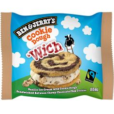 "Delectable ""cookie dough"" flavor Ben & Jerry's, available in 80ml 'wich - ice cream sandwich. Order yours now!"