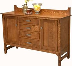 """Glenwood Sideboard in natural cherry. $1632. 20"""" x 60"""" x 44"""" - Dovetailed drawers - Full extension drawer slides - Unique walnut plugs in end panels - 1 Adjustable shelf per door."""