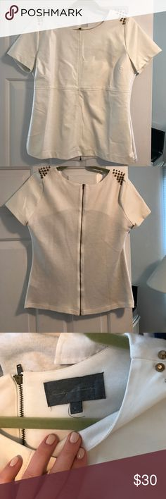 Leather front studded top! Adorable white (faux) leather, shoulder studded top! Brand: Sunday in Brooklyn Tops Blouses