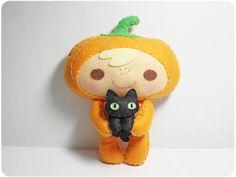 Halloween Pumpkin Kid and Black Cat - PDF Doll Pattern