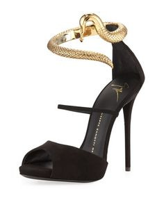 Snake-Ankle-Wrap Suede Sandal by Giuseppe Zanotti at Bergdorf Goodman.