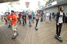 Ocean City approves skateboarding on Boardwalk | Dozens of skateboarders rolled out en masse Tuesday to mark the first day Ocean City allowed offseason skateboarding on the Boardwalk.