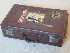 "Old Brown Vintage 22"" Suitcase Leather  Wedding - Prop"