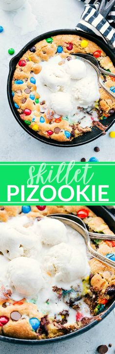Skillet Pizookie ~ this skillet cookie is so easy to make and delicious! Easy Desserts, Delicious Desserts, Yummy Food, Delicious Chocolate, Tasty, Cookie Recipes, Dessert Recipes, Skillet Cookie, Chocolate Chip Cookie Dough