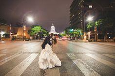 Austin Texas Downtown Wedding Photo at Night