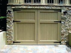 Photo of Olympic style with 2 horizontal panels. Evergreen Carriage Doors builds custom hand crafted authentic antique carriage house doors and carriage garage doors that hinge and swing out. Small Garage Door, Double Garage Door, Sliding Garage Doors, Carriage House Garage Doors, Garage Door Colors, Garage Door Styles, Carriage Doors, Garage Door Design, House Doors