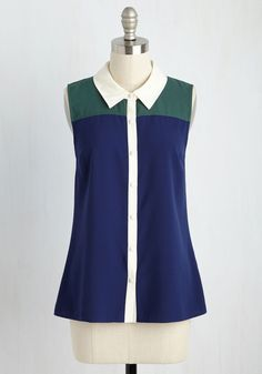 Class to Cafe Sleeveless Top in Navy. After a morning of lengthy lectures, you look to recharge at the campus cafe in this sleeveless button up. #blue #modcloth