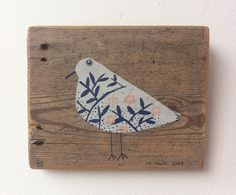 Birdie, limited edition screen print on wood, just 4 left.