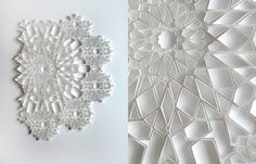Paper engineer Matt Shlian produced his latest series of paper pieces replete with intricate geometric patterns