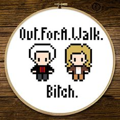 Buffy the Vampire Slayer - Out for a Walk  Full colour cross stitch pattern with symbols and DMC thread legend  ****** This pattern is