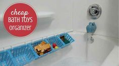 If your shower doesn't have enough shelf space, use a tension rod and shower curtain rings to create some.