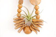 Vintage Handmade Wood Beaded Necklace + Air Plant #GlitteryMoonVintage