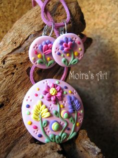 Pastel Pink Romantic Flowers  polymer clay jewelry by MoirasArt