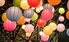 Barn Wedding Decor: Add Color Love the paper lantern idea Carnival Inspiration, Wedding Inspiration, Wedding Ideas, Wedding Trends, Wedding Photos, Backyard Carnival, Chinese Paper Lanterns, Event Design, Boho Wedding