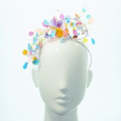 Multicoloured Confetti Asymmetric Tiara - Spring Racing Carnival, Bespoke Headwear by BonnieEvelynMilliner on Etsy