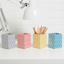 Practical pen pots are a perfect way to brighten up your desk or work space and are great for use in a bedroom, study or kitchen. All our beautiful handmade stationery and storage products are produced in an eco-friendly way, from 100% recycled materials.