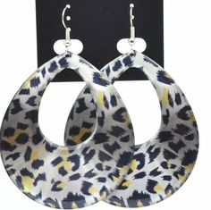 "POPULAR LEOPARD CHEETAH ANIMAL PRINT Dangle Earrings 2.5"" FREE SHIPPING #DropDangle"