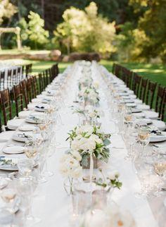 Al fresco wedding table: http://www.stylemepretty.com/2014/12/18/elegant-navy-and-grey-summer-wedding/   Photography: Jesse Leake - http://www.jesseleake.com/