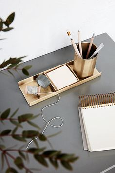 Brass desk set by House Doctor, a stylish desk accessory for a modern desk. Set includes a pen pot, and two pen trays. Aluminium with brass finish. House Doctor, Stationary Organization, Home Office Organization, Stationary Set, Make Up Tisch, Gold Desk Accessories, Home Office Accessories, Office Stationery, Stationery Shop