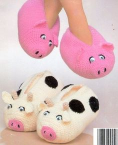 Adult Cow Pig Slippers Crochet Pattern Great Gift | eBay would be cool to make
