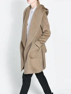 Brown Waterfall Hooded Coat In Wool | Choies