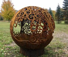 Items similar to DAHLIA FLOWER POWER Flora Life Fireball Fire Pit - one of a kind handcrafted steel sphere fire pit globe /sphere metal art sculpture each o on Etsy Fire Pit Globe, Fire Pit Sphere, Diy Fire Pit, Fire Pit Backyard, Backyard Seating, Metal Fire Pit, Gazebo With Fire Pit, Fire Pit Gallery, Fire Ring