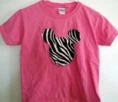 Pink Reverse Applique Zebra Minnie Tshirt by dreamseadesigns, $15.00