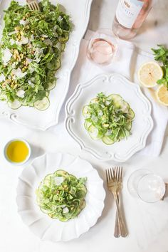 Arugula Salad with Shaved Zucchini, Pistachios and Parmesan #SummerSoiree #nocook