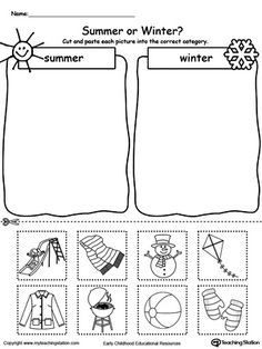 **FREE** Sorting Summer and Winter Seasonal Items Worksheet. Practice sorting summer and winter items in this kindergarten printable worksheet.