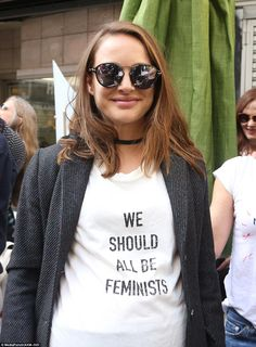 'We should all be feminists!' Pregnant Natalie Portman makes her feelings clear in logo T-...