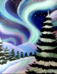 I am going to paint Northern Lights Over the Pines at Pinot's Palette - South La. - I am going to paint Northern Lights Over the Pines at Pinot's Palette – South Lamar to discover - Winter Painting, Winter Art, Christmas Paintings, Christmas Art, Wine And Canvas, Paint And Sip, Art Party, Pictures To Paint, Art Plastique