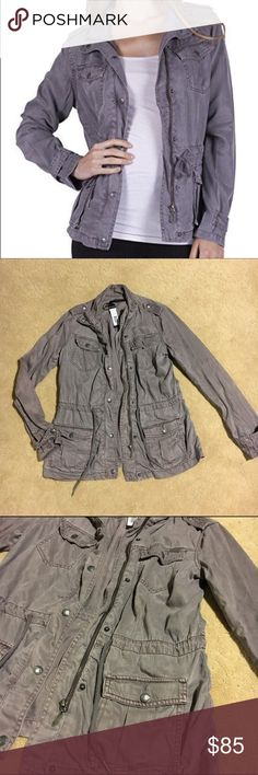 MAX JEANS Army Jacket Grey army Anorak jacket. Lightweight. Fits up to a small. NWT Max Jeans Jackets & Coats