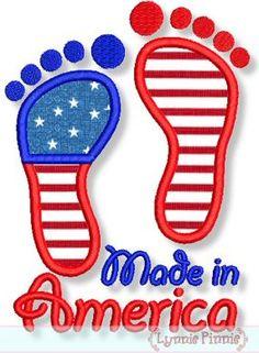 Made in America Baby Feet Applique 4x4 5x7 6x10 Lynnie Pinnie