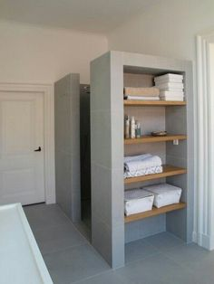 """!#! Can have the basin and shower share a """"water wall"""" with shelving ontop of basin and storage crate below."""