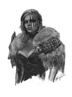 "Grey scale of my Norn Warrior ""Walks in Starlight"""