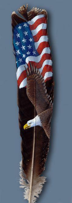 Featherlady Studio: wildlife art by Northwest artist Julie Thompson - Patriotic Eagle Eagle Painting, Feather Painting, Feather Art, Feather Crafts, Rock Painting, Native Art, Native American Art, American Flag, Native Indian