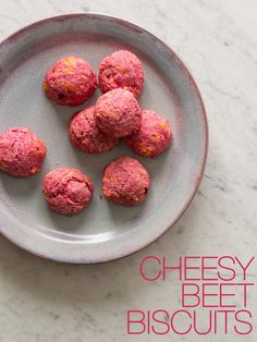 Cheesy Beet Biscuits from spoonforkbacon.com, uses beet puree mixed in with biscuit dough