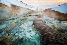 At the hot springs of Seltun or Krysuvik Iceland