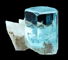 "flower48512: "" fuckyeahmineralogy: "" Beryl var. Aquamarine with Albite; Shigar Valley, Gilgit-Baltistan, Pakistan "" my birthstone! thank you very much! """