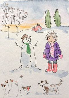 Original Watercolour Painting ACEO -Snowman and Dog- by Annabel Burton   Art, Paintings   eBay!