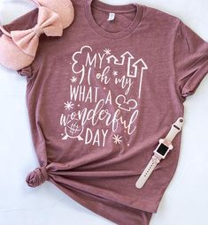 My oh my What A Wonderful Day Tee Rose Gold Disneyland Spirit Jersey Disney World Outfits, Disney World Trip, Disney Family Outfits, Disney Fashion, Disney Hotels, Disney Vacations, Disney Trips, Disney Vacation Shirts, Frases Disney