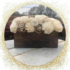 Wood centerpiece with sola wood flowers. Perfect for home decor, or rustic, alternative wedding. Wood Centerpieces, Sola Wood Flowers, Alternative Wedding, Craft Kits, Diy Crafts, Rustic, Home Decor, Wooden Centerpieces, Country Primitive