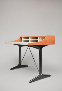 Pierre Paulin; #CM193 Cherry, Leatherette, Metal and Lacquered Wood Writing Desk for Thonet, c1957.